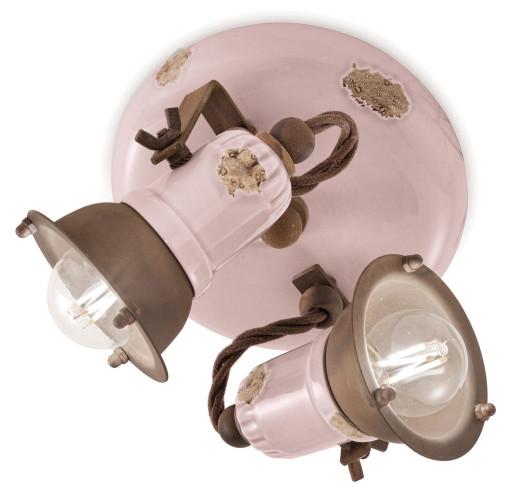 C1678 - Plafonieră roz cu finisaj maro din ceramică cu 2 surse de lumină