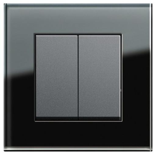 Întrerupător dublu GIRA Esprit antracit cu ramă simplă sticlă neagră