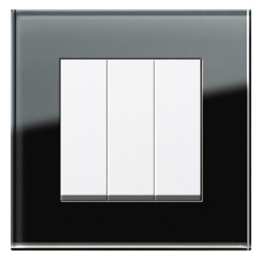 Întrerupător triplu GIRA Esprit alb lucios cu ramă simplă sticlă neagră