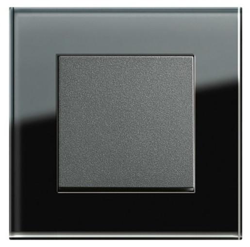 Întrerupător simplu GIRA Esprit antracit cu ramă simplă sticlă neagră