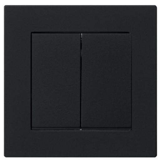 Întrerupător dublu GIRA E2 flat cu ramă simplă negru mat