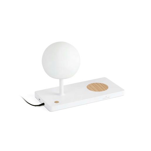 Niko - Veioză albă cu încarcare wireless pentru smartphone