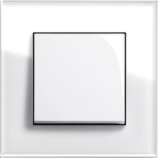 Întrerupător simplu GIRA Esprit alb lucios cu ramă simplă sticlă albă