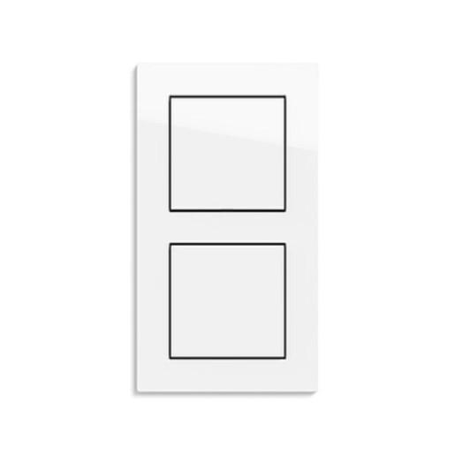 Două întrerupatoare simple GIRA E2 flat alb lucios cu ramă dubla