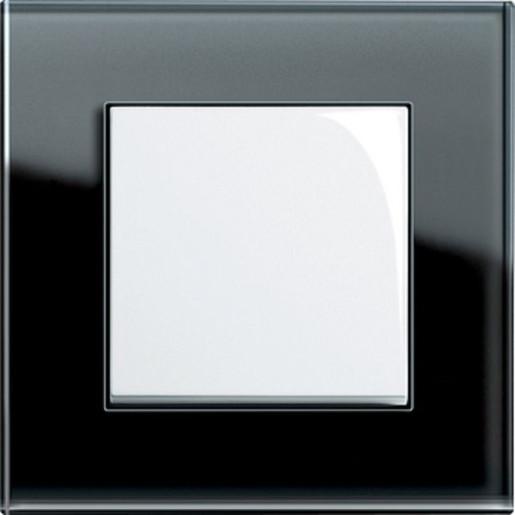 Întrerupător simplu GIRA Esprit alb lucios cu ramă simplă sticlă neagră