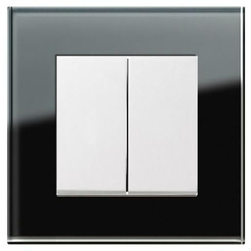Întrerupător dublu GIRA Esprit alb lucios cu ramă simplă sticlă neagră