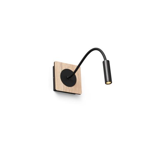 MOOD 2W - Aplică de citit neagră din aluminiu cu efect mat și bază din lemn