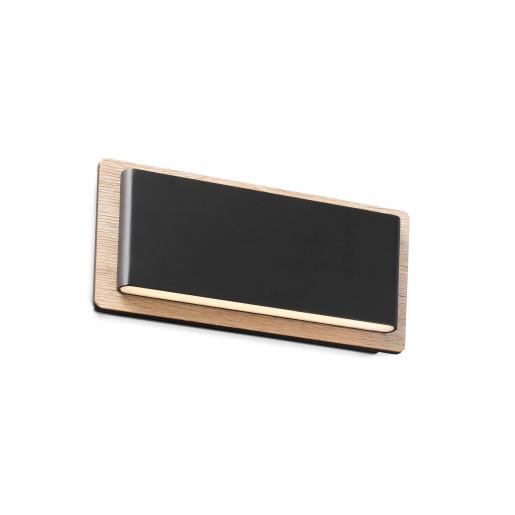 MOOD 2x3W - Aplică de citit rectangulară neagră din aluminiu cu efect mat și bază din lemn