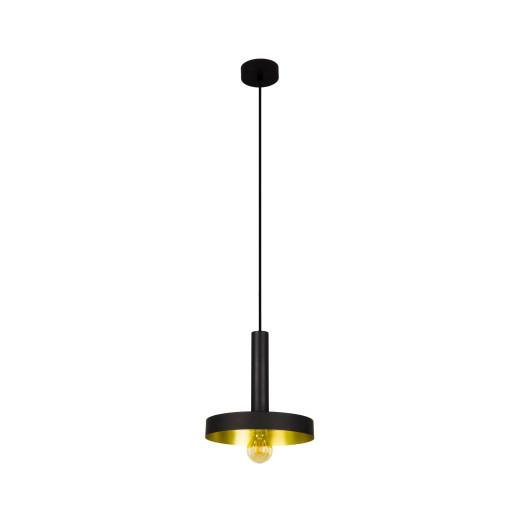 WHIZZ  E27 - Pendul negru cu efect mat și finisaj auriu