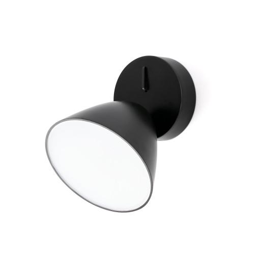 FLASH 1L LED 10W - Aplică neagră rotundă din aluminiu