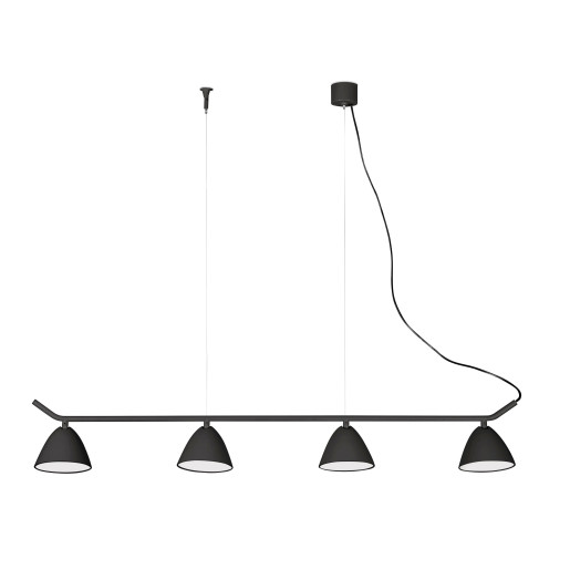 FLASH 4x10W LED - Lustră neagră din aluminiu cu 4 surse de lumină