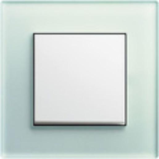 Întrerupător simplu GIRA Esprit alb lucios cu ramă simplă sticlă mint