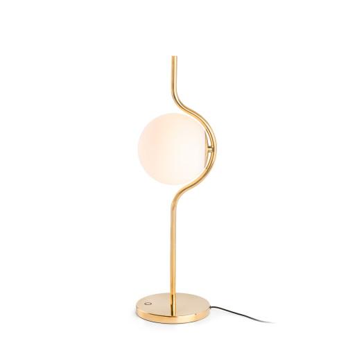 LE VITA LED 6W - Lampă de masă aurie din aluminiu cu abajur alb