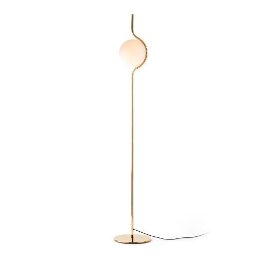 LE VITA LED 6W - Lampă de podea aurie din aluminiu cu abajur alb