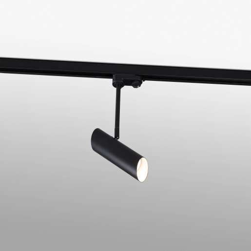 LINK GU10 - Proiector pe șină cilindric negru ajustabil din oțel