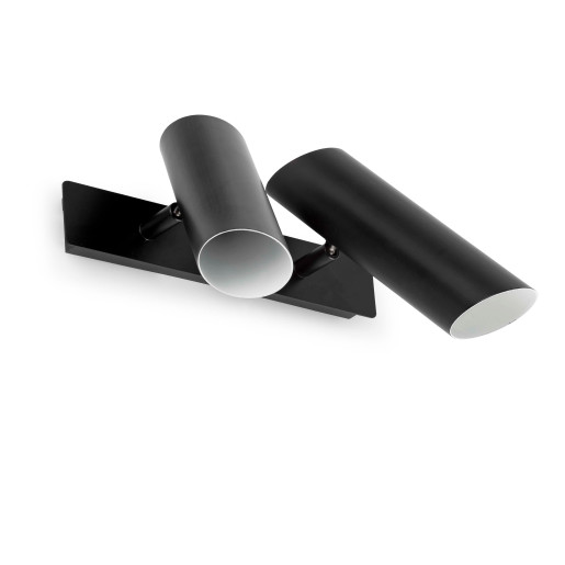 LINK 2xGU10 - Aplică neagră ajustabilă din oțel cu 2 surse de lumină
