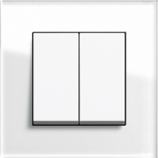 Întrerupător dublu GIRA Esprit alb lucios cu ramă simplă sticlă albă