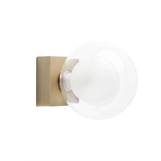 PERLA 1XG9 - Aplică cu abajur transparent și baza din metal aurie