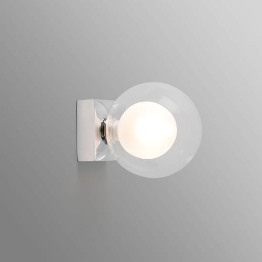 PERLA 1XG9 - Aplică cu abajur transparent și baza din metal crom