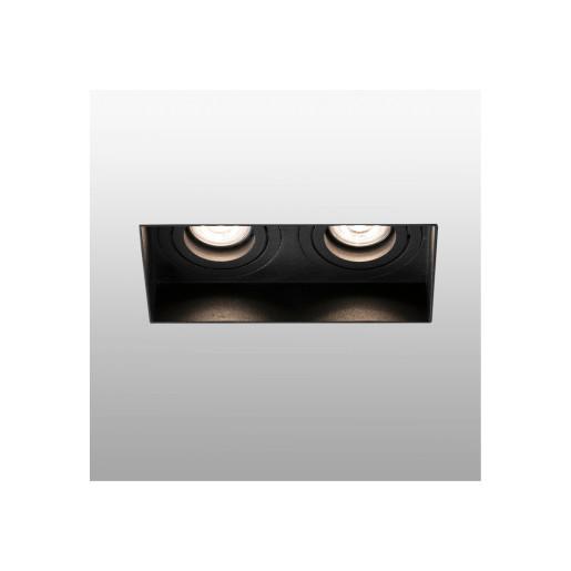 HYDE 2L GU10 - Spot încastrat negru rectangular cu 2 surse de lumină