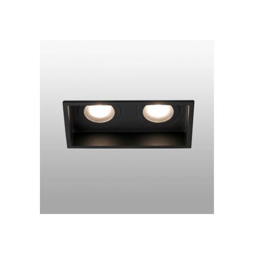 HYDE 2L GU10 IP44 - Spot încastrat negru rectangular cu 2 surse de lumină