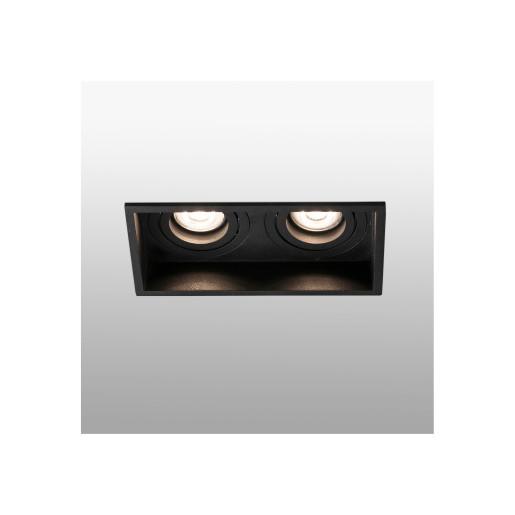 HYDE 2L - Spot încastrat negru rectangular cu 2 surse de lumină