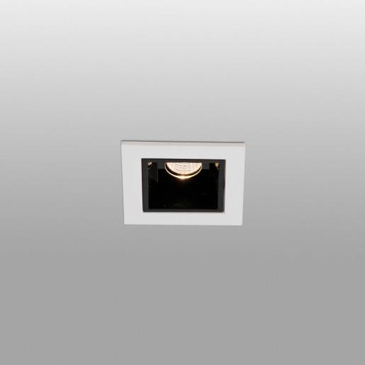 TROOP 1x2W - Spot încastrat din aluminiu negru cu ramă albă