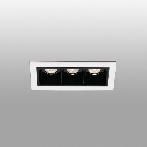 TROOP 3x2W - Spot încastrat negru cu ramă albă cu 3 surse de lumină