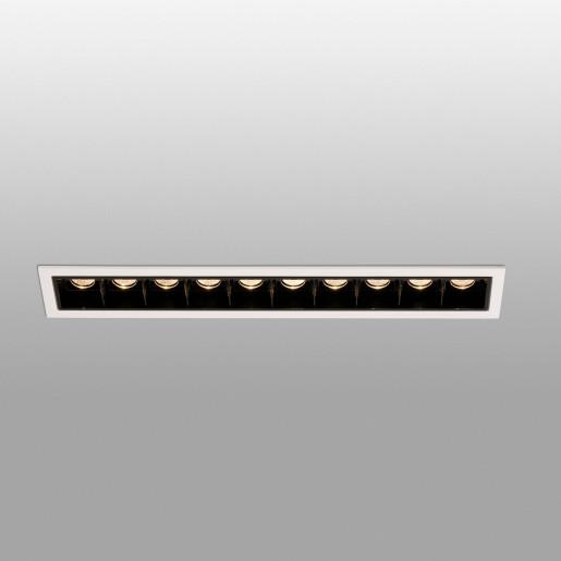 TROOP 10x2W -  Spot încastrat negru cu ramă albă cu 10 surse de lumină