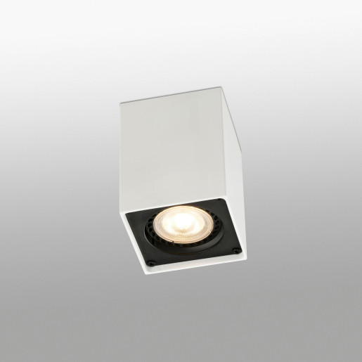Squad - Spot aplicat alb rectangular cu finisaj negru