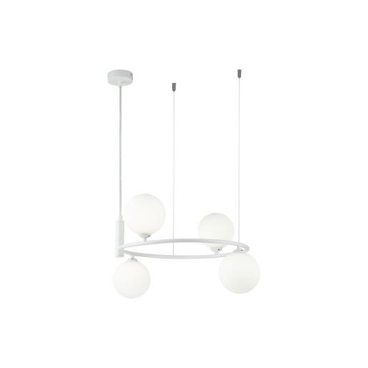 Ring II - Lustră albă din metal cu 4 globuri din sticlă