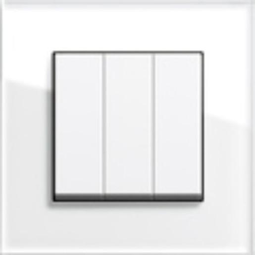 Întrerupător triplu GIRA Esprit alb lucios cu ramă simplă sticlă albă