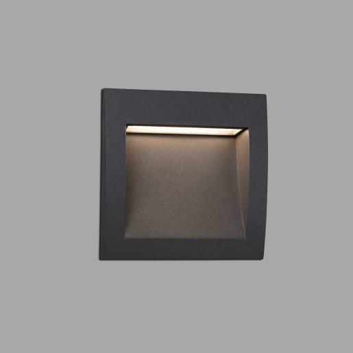 Sedna 140 LED - Lampă încastrată în perete gri din aluminiu