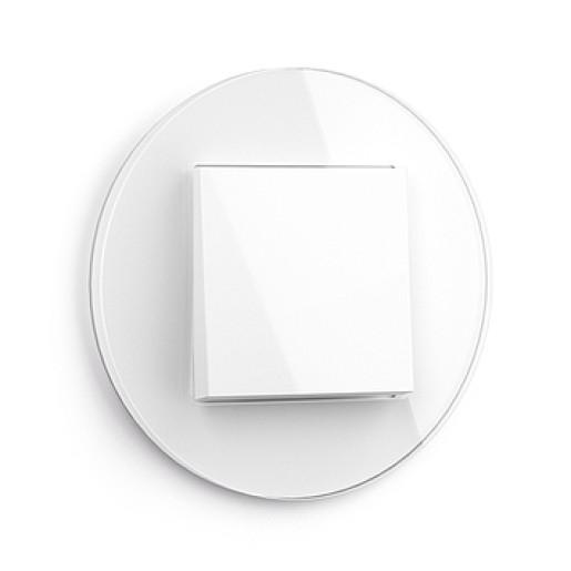 Întrerupator simplu GIRA Studio alb lucios cu ramă simplă sticlă albă