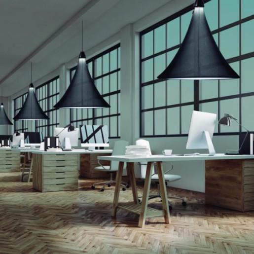 Flux M - Lampă suspendată de birou conică albă sau neagră
