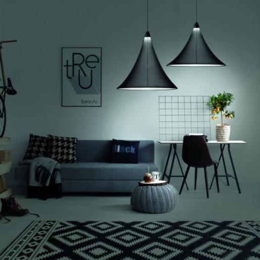 Flux S - Lampă suspendată de birou conică albă sau neagră