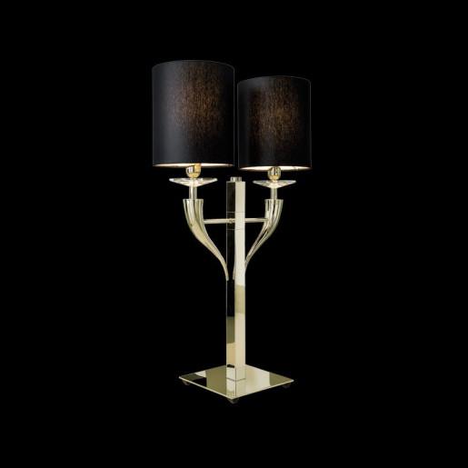 Loving Arms T2 - Lampă de masă aurie cu 2 abajururi maro