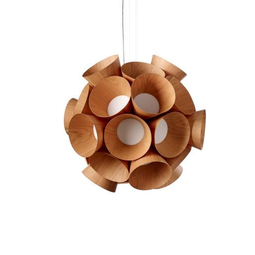 Dandelion - Lustră din furnir cu floricele în formă de pâlnie
