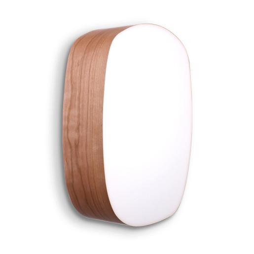 Guijarro Medium - Plafonieră ovală din furnir cu finisaj alb