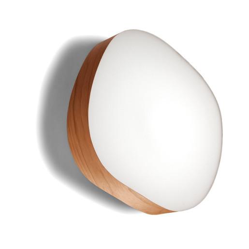 Guijarro Large - Plafonieră ovală din furnir cu finisaj alb