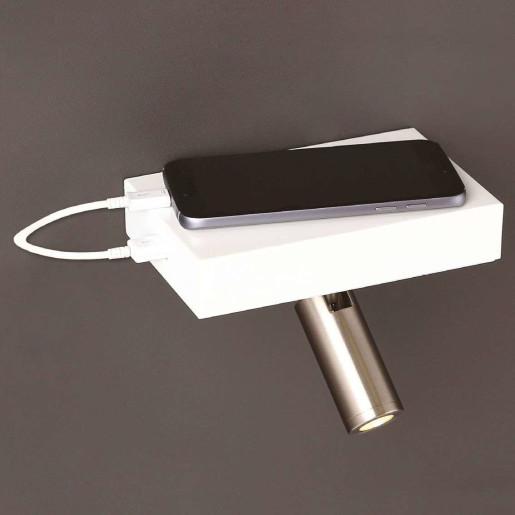 Power - Aplică de citit cilidrică cu suport și port USB