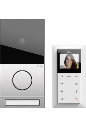 Pachet interfonie GIRA System 106 compus din o stație interfon video pentru exterior și una pentru interior