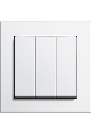 Întrerupător triplu GIRA cu ramă simplă alb lucios și doză pentru perete gips-carton