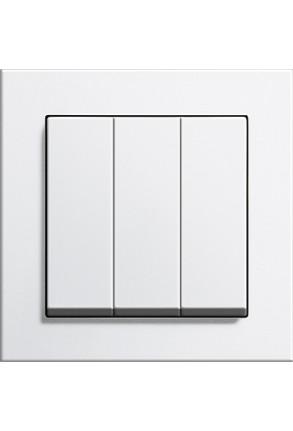 Întrerupator triplu GIRA cu ramă simplă alb lucios și doza pentru perete gips-carton