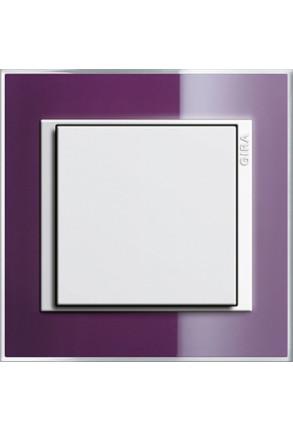 Întrerupător simplu GIRA alb lucios cu ramă simplă violet