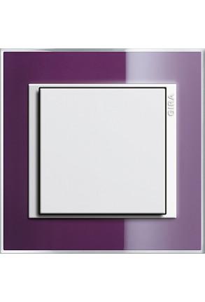 Întrerupator simplu GIRA alb lucios cu ramă simplă violet