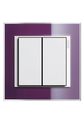 Întrerupator dublu GIRA alb lucios cu ramă simplă violet
