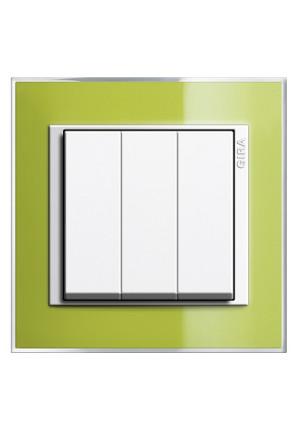 Întrerupator triplu GIRA alb lucios cu ramă simplă verde