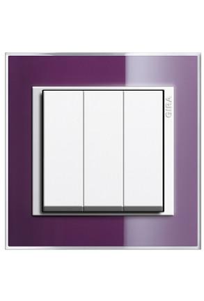 Întrerupator triplu GIRA alb lucios cu ramă simplă violet