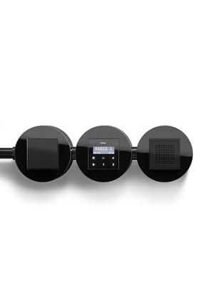 Radio RDS Gira Studio montat aplicat, negru lucios cu doua boxe, cu ramă sticlă neagră